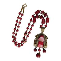 Czech, Neiger, Art Deco, Burgundy Red Glass and Brass Necklace