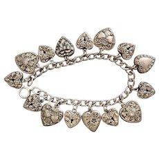 Vintage, Sterling Silver, Heart Charm Bracelet