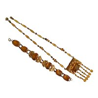 Czech, Neiger, Vintage, Gold Plated, Brass Filigree, Amber-Colored Glass Necklace and Bracelet Set
