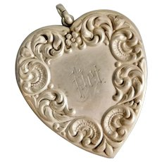 "Antique, Sterling Silver, Ornate, Repousse, Engraved ""Pet"", Large, Heart- Shaped Locket"