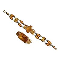 Czech, Neiger, Art Deco, Vintage, Brass, Amber-Color Glass Bracelet and Brooch Set