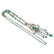 Neiger, Czech, Vintage, Peking Glass, Gold Plated Brass Filigree, Victorian Revival, Sautoir Necklace