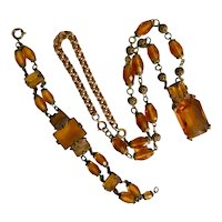 Czech, Neiger, Orange/Yellow Glass, Art Deco, Necklace and Bracelet Set