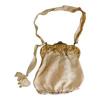 Art Nouveau, Lady Image, Gold Toned Brass, Snap Closure, Light Beige, Evening Bag or Dance Purse