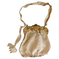 Art Nouveau, Lady Image, Gold Toned Brass, Snap Closure, Light Beige, Evening Bag or Dance Purse
