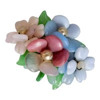 German, Pink, Blue, Green, and White Poured Glass, Gripoix Like, Floral Brooch