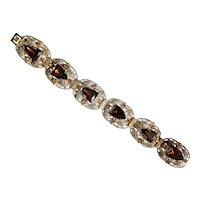 Czech, Neiger, Vintage, Silver Plated, Filigree Brass, Amber-Color Glass Bracelet