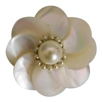 Vintage, Louis Rousselet, Faux Pearl and Brass, Flower Brooch