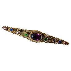 Czech, Neiger, Vintage, Multi-Color Glass and Brass Collar Bar