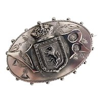 "Antique, Sterling Silver, ""V R"" (Victoria Reigns), Queen Victoria, Mourning Brooch"