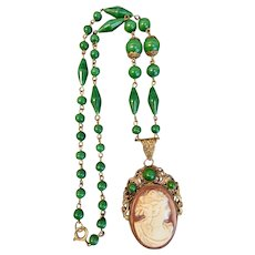 Max Neiger Czech Vintage Green Glass Cameo Necklace