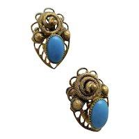 Czech, Neiger, Turquoise Colored Glass, Filigree Brass, Snake Image, Egyptian Revival Earrings