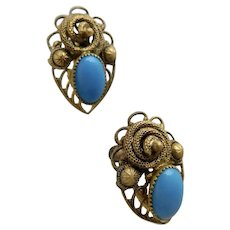 Czech, Neiger, Turquoise Colored Glass, Filigree Brass, Snake Image, Egyptian Revival Earrings