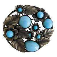 Czech, Neiger, Vintage, Turquoise Colored Glass, Silver Plated Brass, Floral Motif Brooch