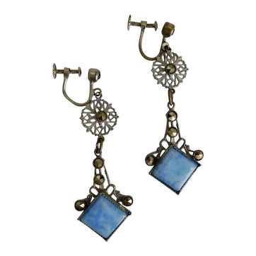 Czech, Neiger, Vintage, Blue Glass and Faux Marcasites, Silver Plated Filigree Brass Earrings