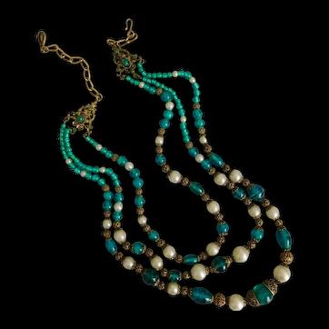 Czech, Neiger, Festoon, Swirly Green Glass, Faux Pearl, Filigree Brass Necklace