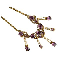 Czech, Vintage, Purple Glass, Gold Plated Filigree Brass Necklace