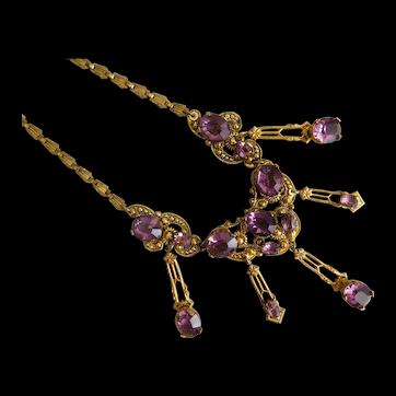 Czech, Vintage, Purple Glass, Gold Plated Filigree Brass Necklace