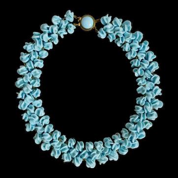 Vintage Louis Rousselet, French, Light Blue, Poured Glass Necklace