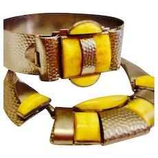 Czechoslovakian, Vintage, Art Deco, Lemon Yellow, Necklace and Bracelet Set