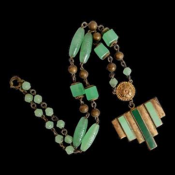 Neiger, Czech, Light Green Glass and Enamel, Brass, Art Deco Vintage Necklace