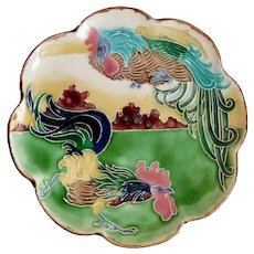 Antique, Carl Luber, Ceramic, Art Nouveau, Rooster Plate