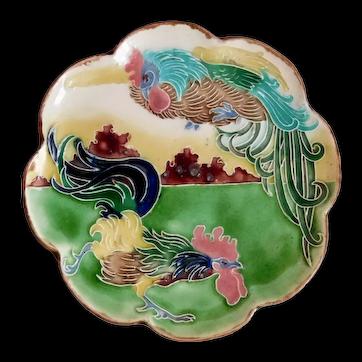 Antique, Carl Luber, Ceramic, Art Nouveau, Rooster Plate