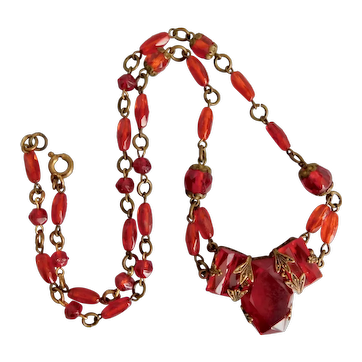Czech, Neiger, Vintage, Ruby Red Glass and Brass Necklace