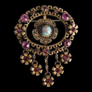 Czech, Vintage, 1920's, Brass, Robin's Egg Blue and Purple Glass Brooch