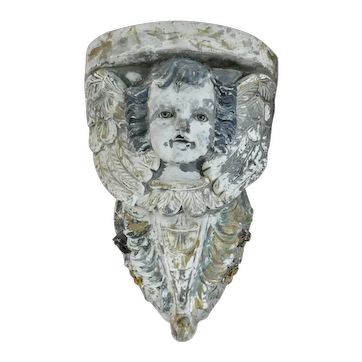Antique, 1800's Cherub Plaster Wall Sconce With Glass Eyes
