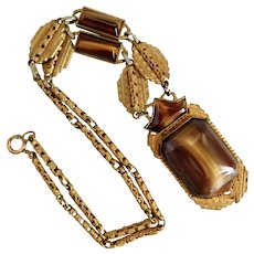 Vintage, Czech, Art Deco, Brass, Faux Tiger's Eye Glass Necklace
