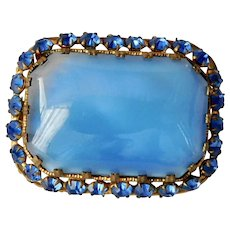 Vintage, Czech , Gold-Plated Brass, Faux Chalcedony Glass Brooch