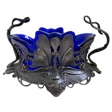 WMF, Silver Plated Pewter, Vintage, Art Nouveau Butterfly, Flower Dish with Cobalt Blue Liner