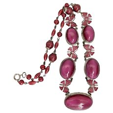 Vintage, Czech, Silver-Plated Brass, Magenta Cat's Eye Glass, and Enamel Butterfly Necklace