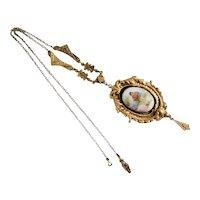 Vintage, Czech, Brass Filigree, Couple's Glass Transferware Portrait Necklace
