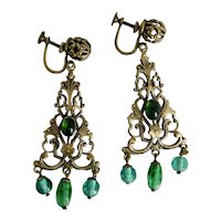 Czech, Neiger, Filigree Brass & Green Glass Earrings