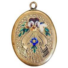 Victorian, Antique, Gold Filled, Enamel, Pansy, Mourning Locket
