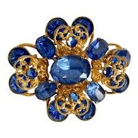 Czech, Neiger, Gold Plated Brass, Blue Crystal Brooch