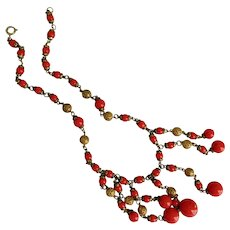 Czech, Neiger, Vintage, Red Holly Berry Glass and Filigree Brass Necklace