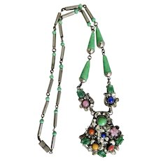 Czech, Neiger, Vintage, Silver-Plated Brass, Multi-Colored Glass Flower Necklace