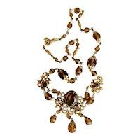 Czech, Neiger, Amber-colored Glass, Enamel, Filigree Brass Necklace