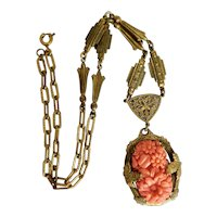 Czech, Vintage, Brass Filigree, Coral-Colored Molded Glass, Floral Necklace