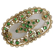 Czech, Neiger, Art Deco, Vintage, Green Rhinestone, Frosted Camphor Glass Brooch