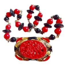 Neiger, Czech, Vintage, Choker, Red and Black Molded Glass, Art Deco Necklace