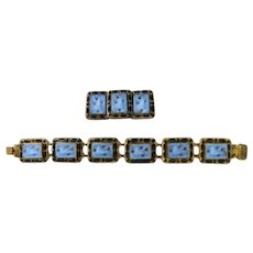 Czech, Neiger, Molded Blue Glass Bird and Black Enamel Bracelet and Brooch Set