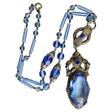 Czech, Neiger, Vintage, Blue Glass, Faux Marcasites, Silver Plated Brass, Necklace