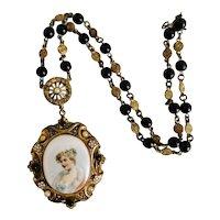 Czech, Neiger, Vintage, Brass, Faux Pearl, Black Glass, White Enamel, Portrait Necklace