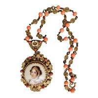 Neiger, Czech, Vintage, Enamel, Brass, Coral-Colored Glass, Queen Louise of Prussia Portrait Necklace