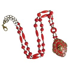 Czech, Vintage, Brass, Red Enamel and Glass Necklace