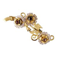 Czech, Neiger, Vintage, Gold-Plated Brass, Pink Glass, Floral Brooch
